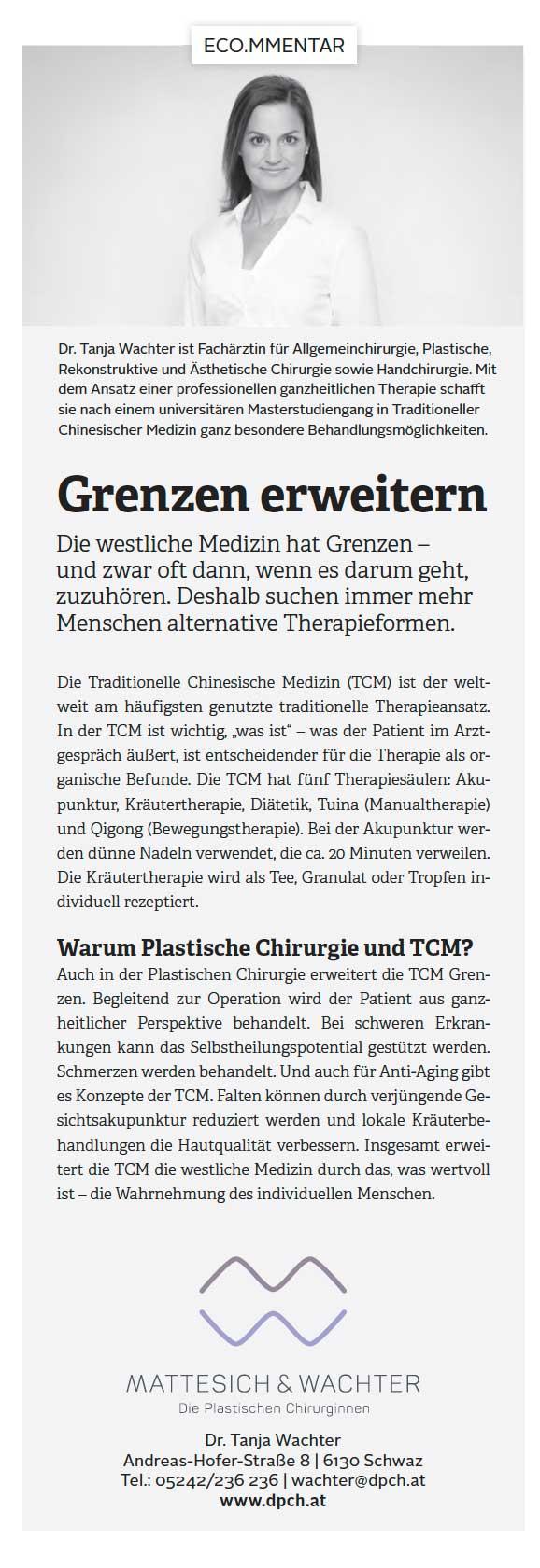 Grenzen erweitern, Eco.mmentar | Die Plastischen Chirurginnen Tirol