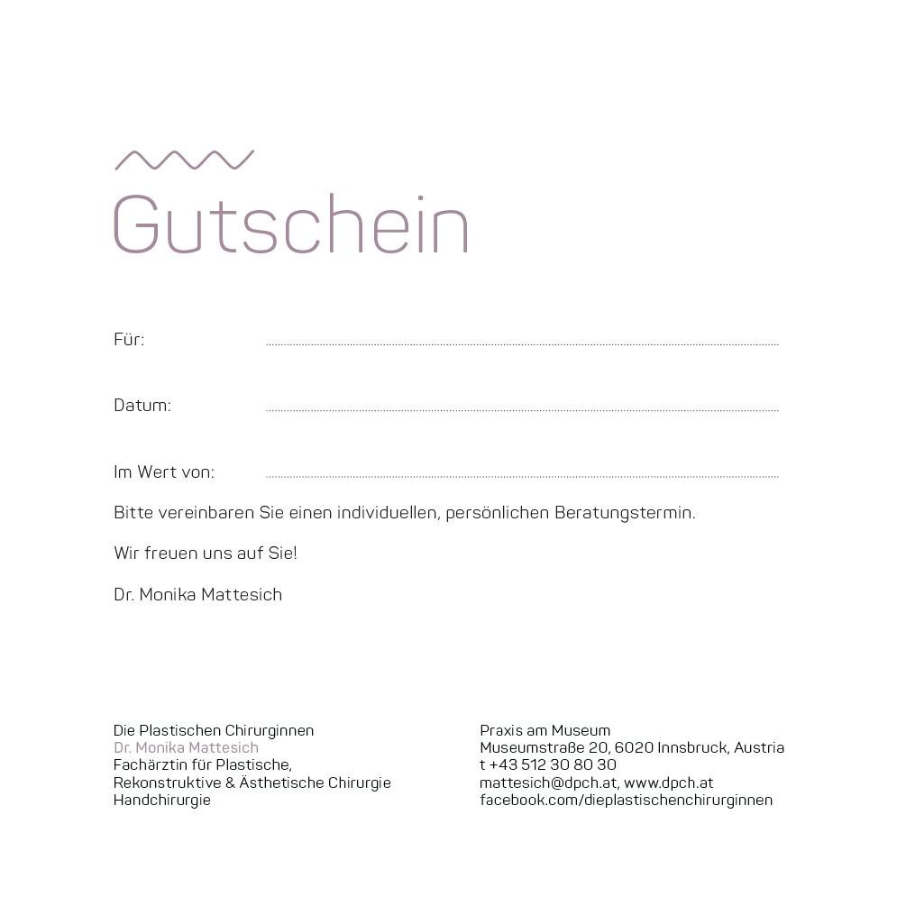 Gutschein Dr. Mattesich | Die Plastischen Chirurginnen Tirol