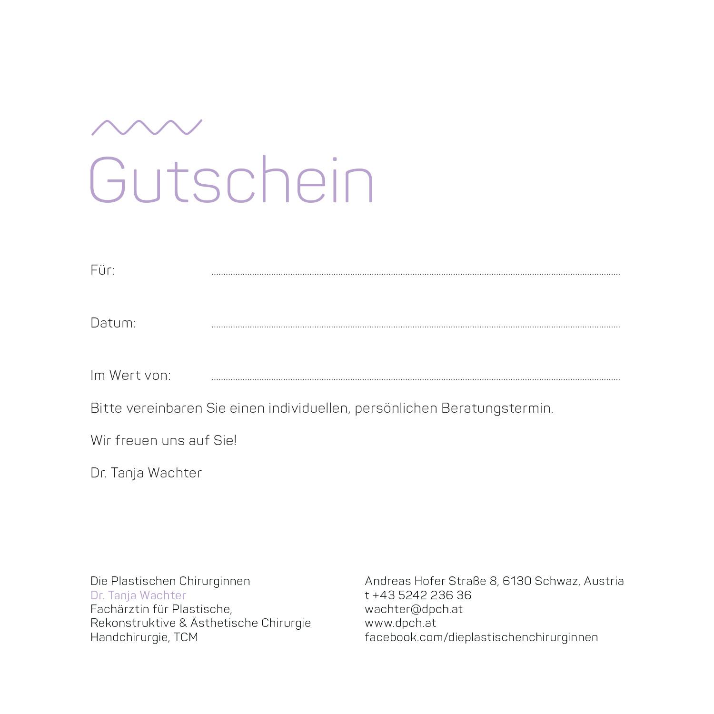 Gutschein Dr. Wachter | Die Plastischen Chirurginnen Tirol